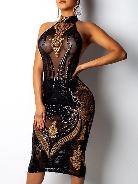 Vestido de fiesta de lentejuelas con espalda abierta de malla transparente