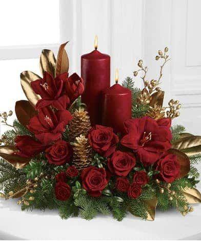 A Candlelit Christmas Christmas Flower Arrangements Christmas Floral Arrangements Christmas Diy