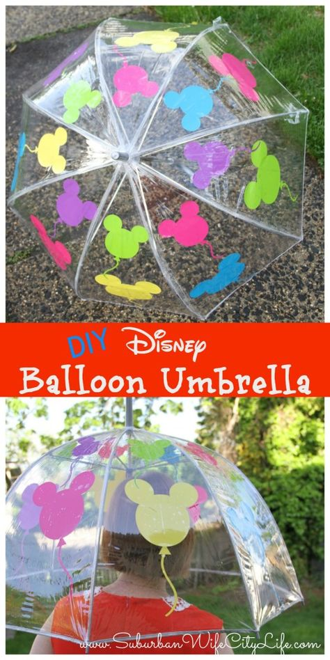 Disney Balloon Umbrella - Suburban Wife, City Life Make rainy days a little brighter with this tutorial for how to make a Disney Balloon Umbrella using a Cricut. Disney Diy Crafts, Diy Crafts For Kids, Fun Crafts, Diy Disney Gifts, Hero Crafts, Wood Crafts, Roommate Gifts, Sister Gifts, Packaging