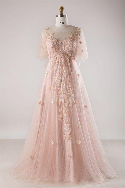 A Line Tulle Sleeve Blush Pink Lace Flower Bohemian Plus Size Wedding Dress Pink Wedding Dresses Pink Prom Dresses Short Blush Pink Wedding Dress,Princess Peach Wedding Dress Cosplay