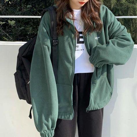 Fleece Hoodies | Zip-up Oversize Sweatshirt - green / L