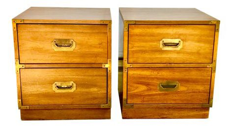 Bernhardt Mid Century Campaign Style Nightstands A Pair Perfect Side Table Bernhardt Nightstand