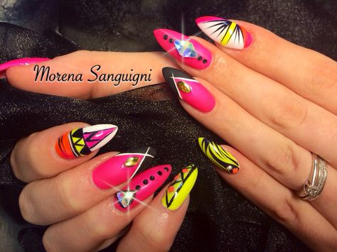 neon bright stiletto nails summer brights bling crystals