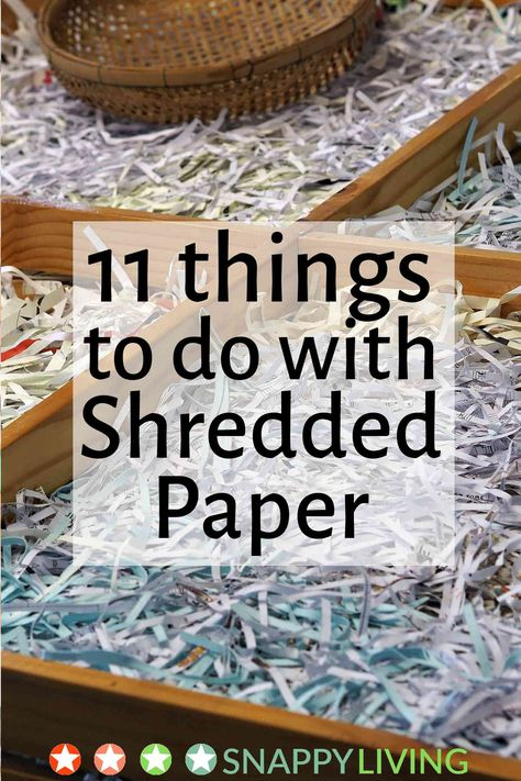 Shredded paper can't be recycled in most areas. If you shred junk mail and old bills to protect your identity (you should!), here are eleven useful and creative things you can do with shredded paper. Recycled Paper Crafts, Recycled Magazines, Newspaper Crafts, Upcycled Crafts, Recycled Art, Diy Crafts To Sell, Paper Recycling, How To Recycle Paper, Recycled Materials