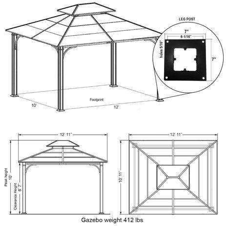 Sunjoy 10 X 12 Chatham Steel Hardtop Gazebo Walmart Com In 2020 Hardtop Gazebo Gazebo Hip Roof Design