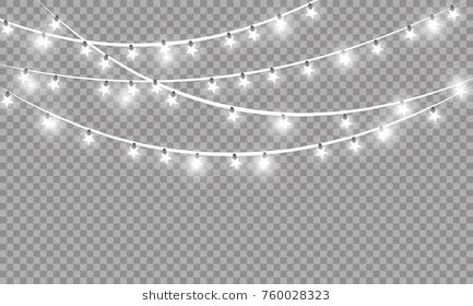 Christmas Lights Isolated On Transparent Background Xmas Glowing Garland Vector Illustration Christmas Lights Lights Transparent Background