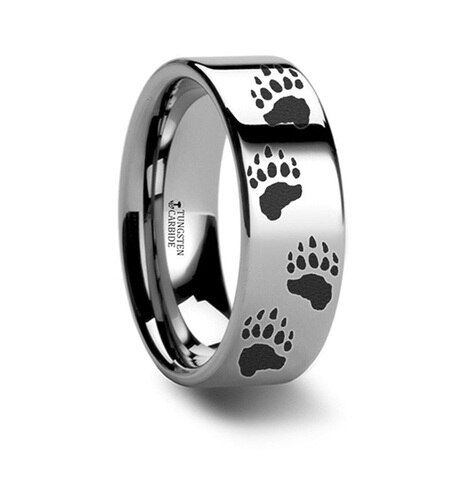 We Have The Popular Bear Claw Rings In Different Widths For Men And Women If You Or Your Loved One Loves Bea In 2020 Black Tungsten Rings Paw Print Ring Rings