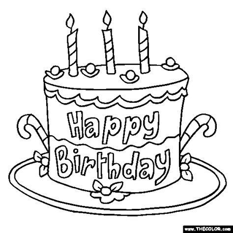 Happy Birthday Cake Coloring Page Cakepins Com Boyama Sayfalari
