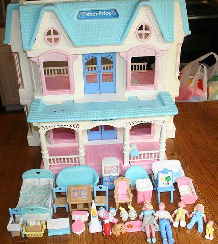 Vintage Retired Fisher Price Toy Dream Dollhouse Loving Family Furniture  Set Lot   EBay