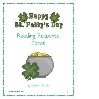 FREE St. Patrick's Day Reading Response Cards