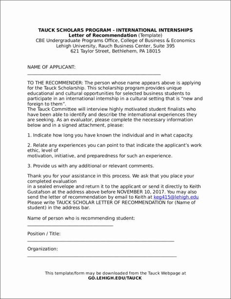 40 Letter Of Recommendation Templates Word Letter Of