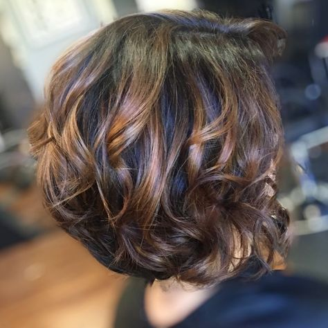 Dark Chocolate Balayage Ombre on Short Swing Bob Hair by Beauty by Genafaith