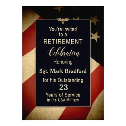 Retirement Party Invitation  Military  Old Flag  Invitations