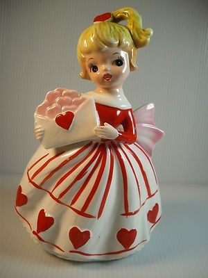 Absolutely beautiful vintage figural girl planter with Valentine's Day theme. Original Relpo sticker is still affixed to the underside and also reads Samson Import Co. Saint Valentine, Valentine Day Love, Vintage Valentines, Funny Valentine, Vintage Holiday, Valentine Crafts, Vintage Paper Dolls, Valentines Day Decorations, Shabby