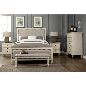 Luxeo Cambridge 5 Piece King Bedroom Set With Solid Wood And Upholstered Trim In Oak Gray Lux K2501 Ogry5 Bedroom Sets Furniture Queen Bedroom Sets Queen White Bedroom Set