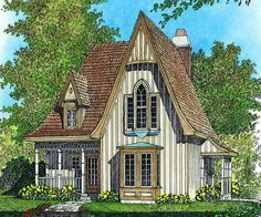 Plan 43002pf Charming Gothic Revival Cottage In 2020 Victorian House Plans Gothic House Cottage House Plans