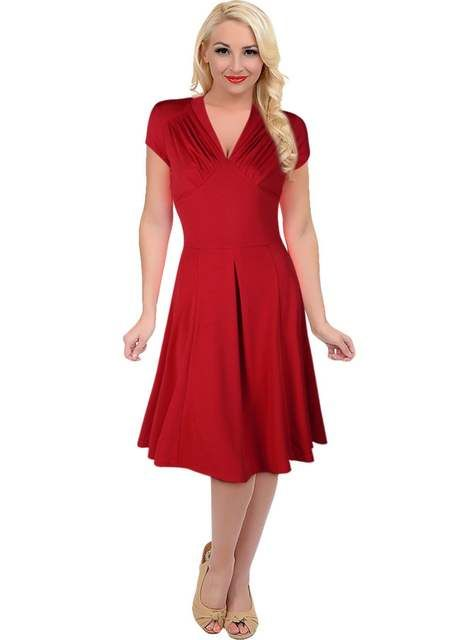 c62770748dafb Women's Vintage Style Retro 1940s Shirtwaist Flared Evening Tea ...