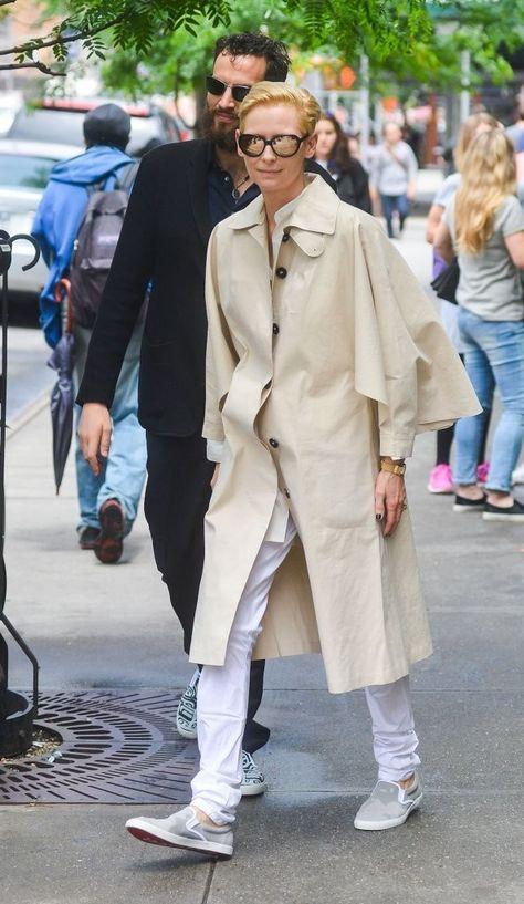 Tilda Swinton rocks the fashion boat in this rad menswear-inspired look with her boyfriend Sandro Kopp