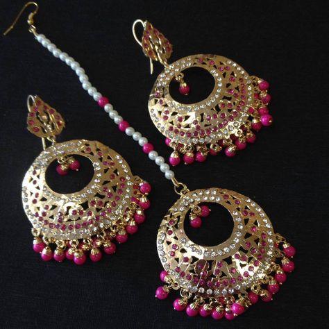 ea35a2239e Gold Jadau Taditional Earrings Tika Set Gold Jadau Earrings/Indian Long kundan  pearl Earrings And Tikka/Punjabi Muslim Mughal Earrings Jewelry/Traditional  ...