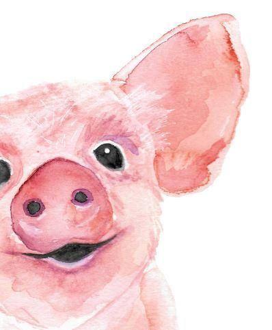 Watercolor Pig Watercolor Farm Animal Watercolor Art Print