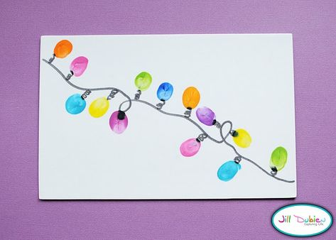 Thumbprint Christmas Lights on a card