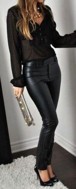Combinaciones Para Tus Pantalones Tipo Cuero Fashion Fashion Outfits Black Sheer Blouse