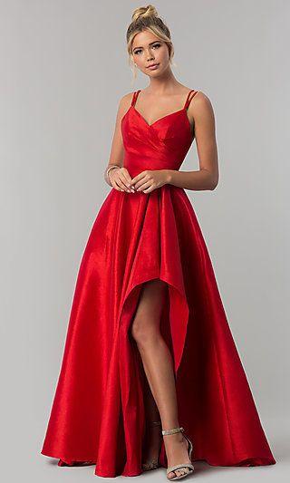 Long Alyce High-Low Taffeta Prom Dress with Slit