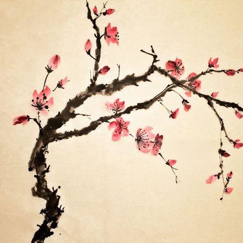 Estampe Japonaise Arbre Fleurs Fleurs Chinoises Peinture