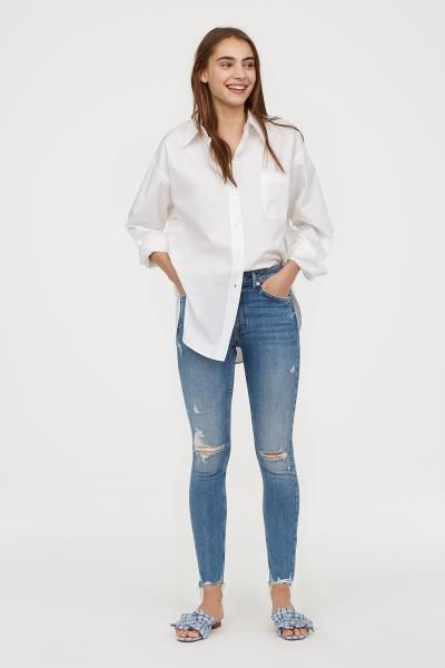 d20cdde13 H&M Skinny High Ankle Jeans - Blue | pose 12 | Ankle jeans, Jeans ...