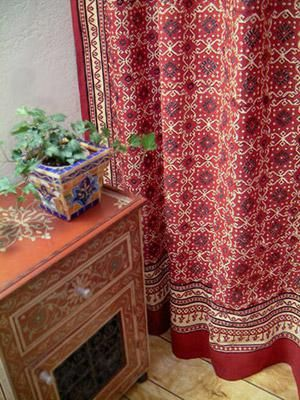 Ruby Kilim Designer Luxury Red Black Fabric Shower Curtain With