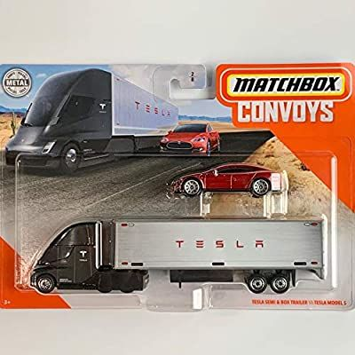 Amazon Com Matchbox Convoys Series Tesla Semi Box Trailer With Red Tesla Model S Toys Games In 2021 Plastic Model Kits Cars Tesla Model S Matchbox