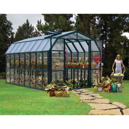 Palram Grand Gardener Greenhouse - 8' x 16', Green