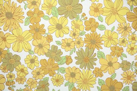 1960s Floral Vintage Wallpaper