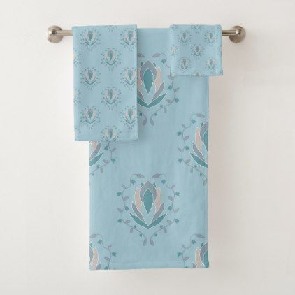 Modern Damask In Teal Blush Blue Bath Towel Set Zazzle Com Blue Bath Towels Bath Accessories Set Blue Bath