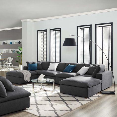 Kolton Down Filled Overstuffed 6 Piece Sectional Sofa Set Wl 04562