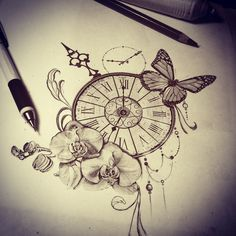 #Butterfly #ORCHID #Sketch #Tattoo #time #Watch Tattoo sketch watch butterfly orchid time Tattoo sketch watch butterfly orchid time