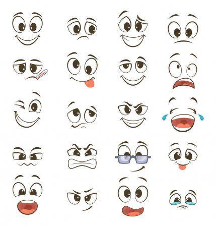 Caras Felices De Dibujos Animados Con Distintas Expresiones Ilustraciones Vectoriales Ojos De Dibujos Animados Ojos De Caricatura Rostros De Dibujos Animados