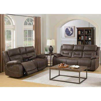 Denham Hills 2 Piece Fabric Set With Power Headrests And Recline Sofa Loveseat Sofa And Loveseat Set Love Seat Leather Reclining Sofa