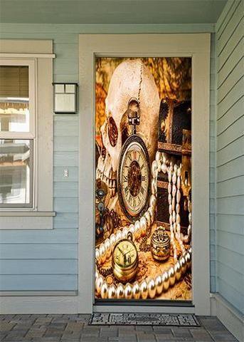 Pirate Festival Skull And Treasure Door Cover Door Decoration Holiday Door Decorations Door Decorations Pirates