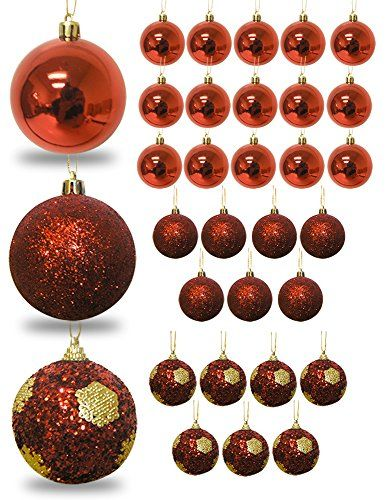 Red Christmas Ball Ornaments Set Of 32 Pieces Red Shiny Red Glitter Shatterproof Ornaments R Red Ball Ornaments Red Christmas Decor Shatterproof Ornaments