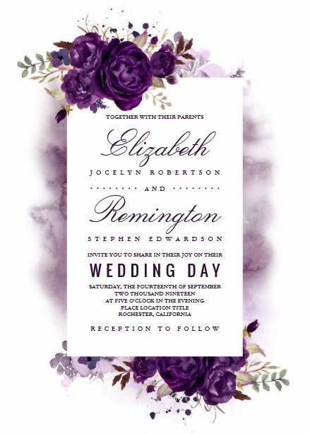 Eggplant Purple Floral Elegant Watercolor Wedding Card Purple