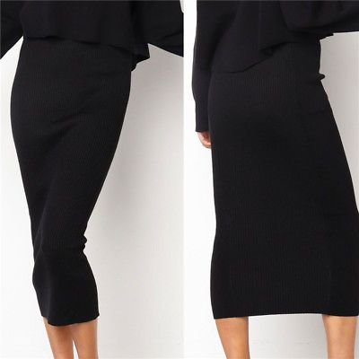 Thick Skirt Bodycon Slim Fit Stretch Long Maxi Women Pencil Skirt Muslim Knitted