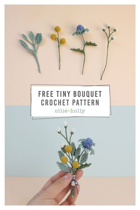 Free tiny flowers bouquet crochet pattern ollie + holly amigurumi crochet patterns lovely crochet flower pattern you need to learn Crochet Leaves, Crochet Motifs, Crochet Flowers, Crochet Stars, Crochet Birds, Crochet Animals, Cute Crochet, Crochet Crafts, Crochet Projects