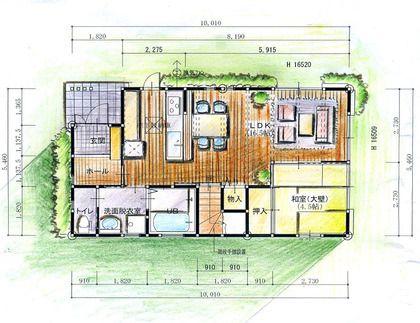 Cadの平面図に着色 平面図 間取り図 建物の絵
