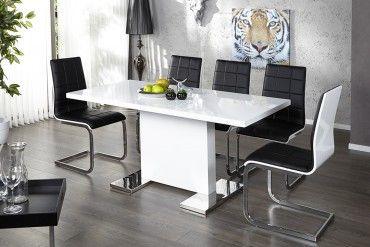 Design Esstisch Polar Weiss Hochglanz 120 160 Cm Ausziehbar Chrom