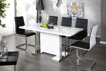 Design Esstisch Polar Weiss Highgloss 120 160cm Ausziehbar Tisch Design Tisch Esszimmer Mobel Tisch