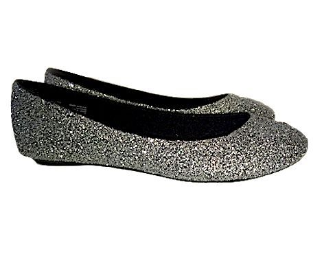 Girls bridesmaid shoes, Silver ballet flats