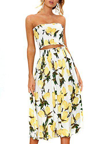 Women S Floral Lemon Bandeau Crop Top With Maxi Skirt 2 Piece