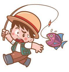 Fishing Vector การออกแบบต วละคร การ ต น ภาพประกอบ