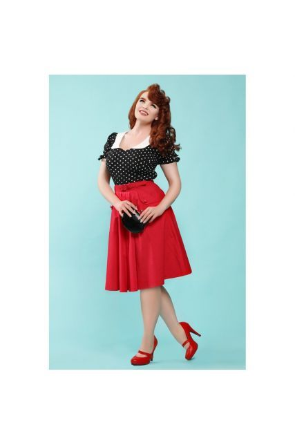 603ec5f4b16d58 Jupe swing rouge en 2019 | Jupe pin-up et vintage | Jupe swing, Robe ...